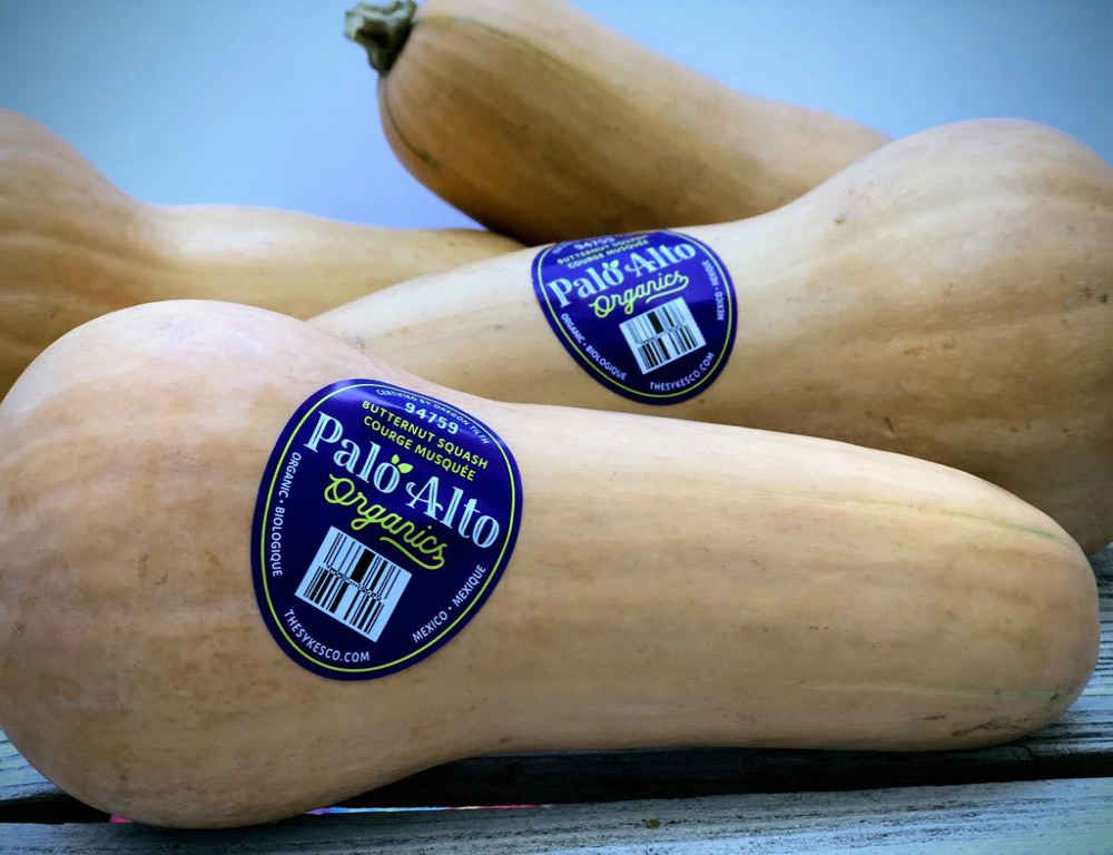 Butternut Squash with Palo Alto Organics Stickers